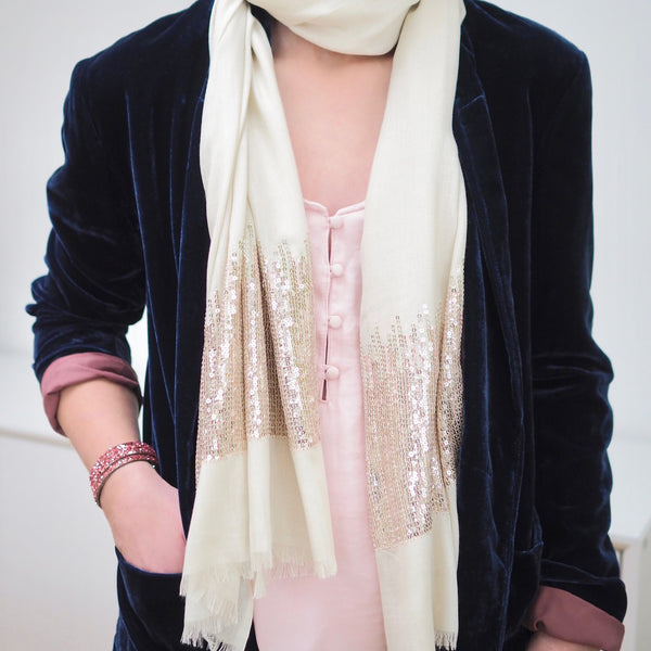 Sequin Scarf - Cream with Gold Sequins