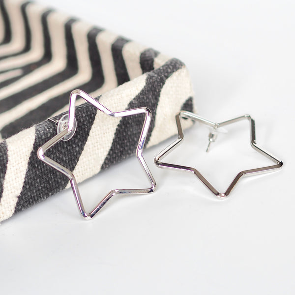 Marmite Star Earrings - Silver 5cm