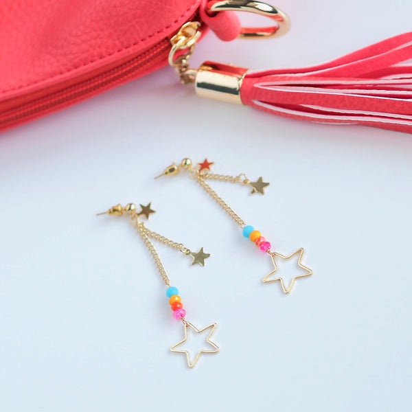 Rainbow Rock Star Drop Earrings - Gold