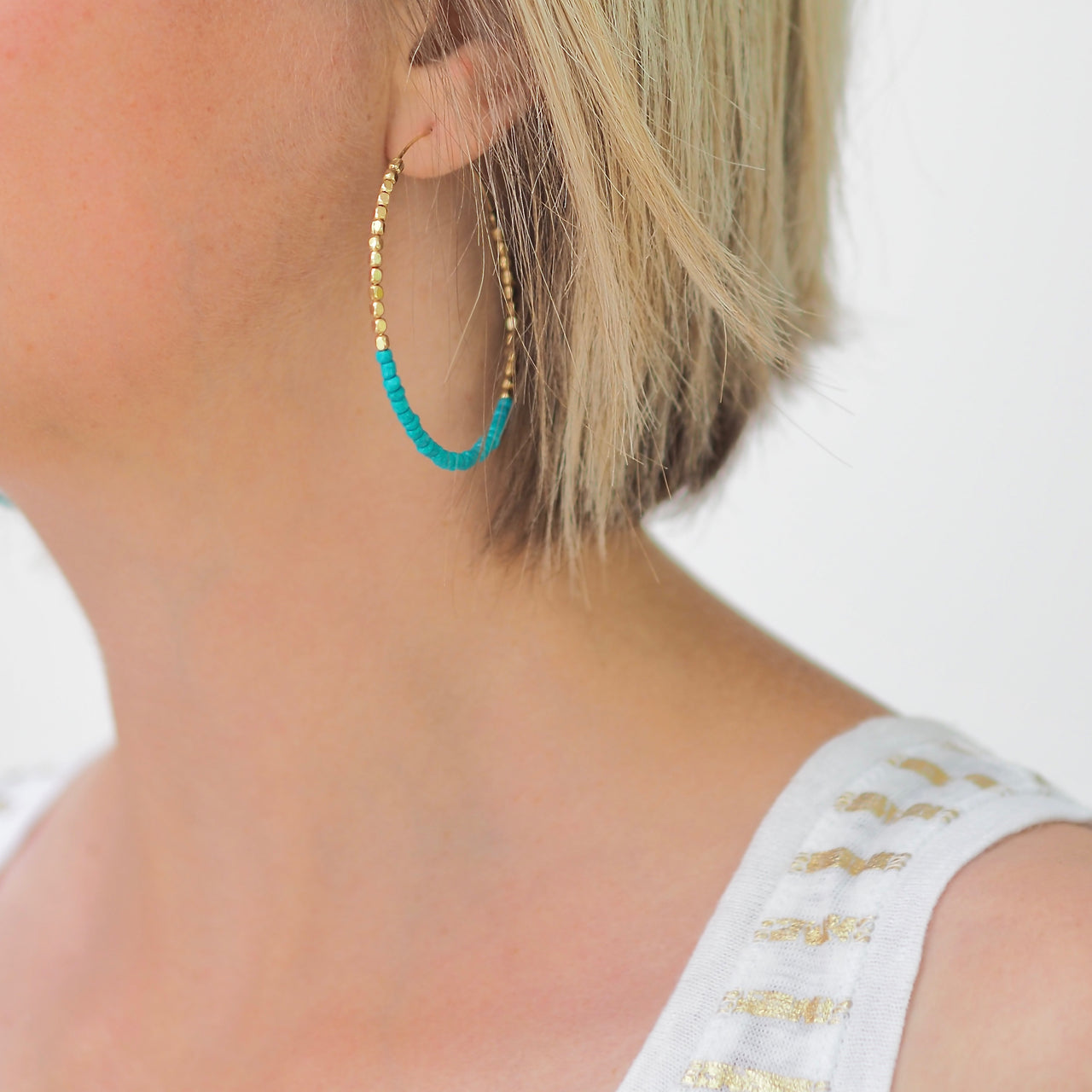 Annie Hoop Earrings – Aqua & Gold | Gift Pop Boutique
