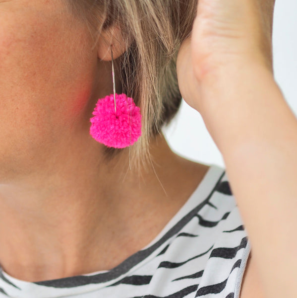 Pom Pom Hoop Earrings - Pink