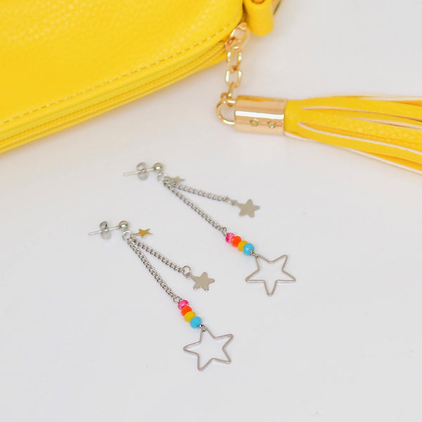 Rainbow Rock Star Drop Earrings - Silver