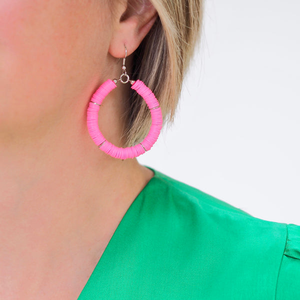 Eternity Hoop Earrings -Bright Pink | Gift Pop Boutique