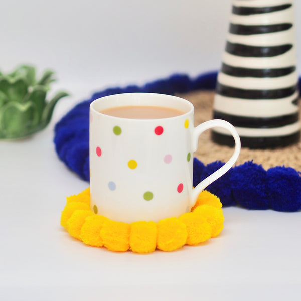 MINI ( Coaster ) Pom Pom Mat - Yellow