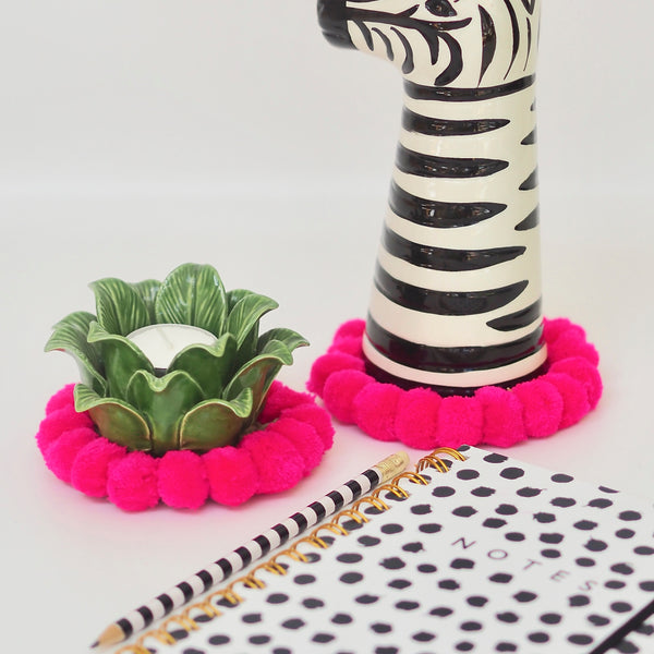 MINI ( Coaster ) Pom Pom Mat - Hot Pink