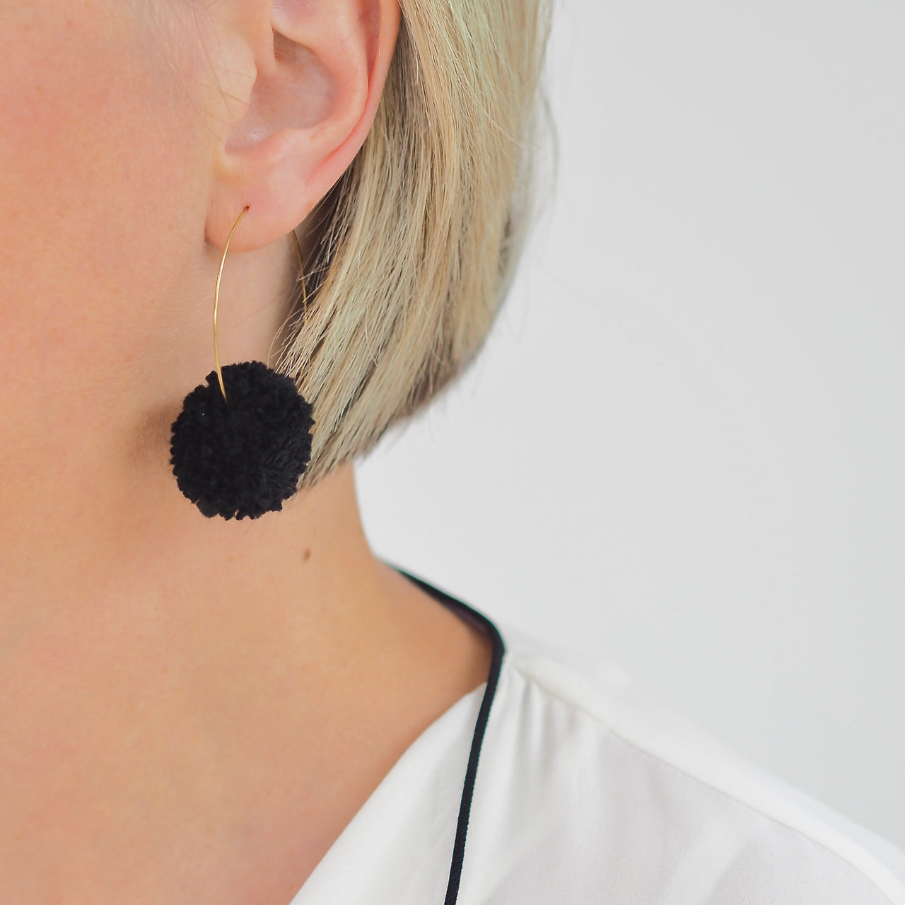 Pom Pom Hoop Earrings - Black | Gift Pop Boutique