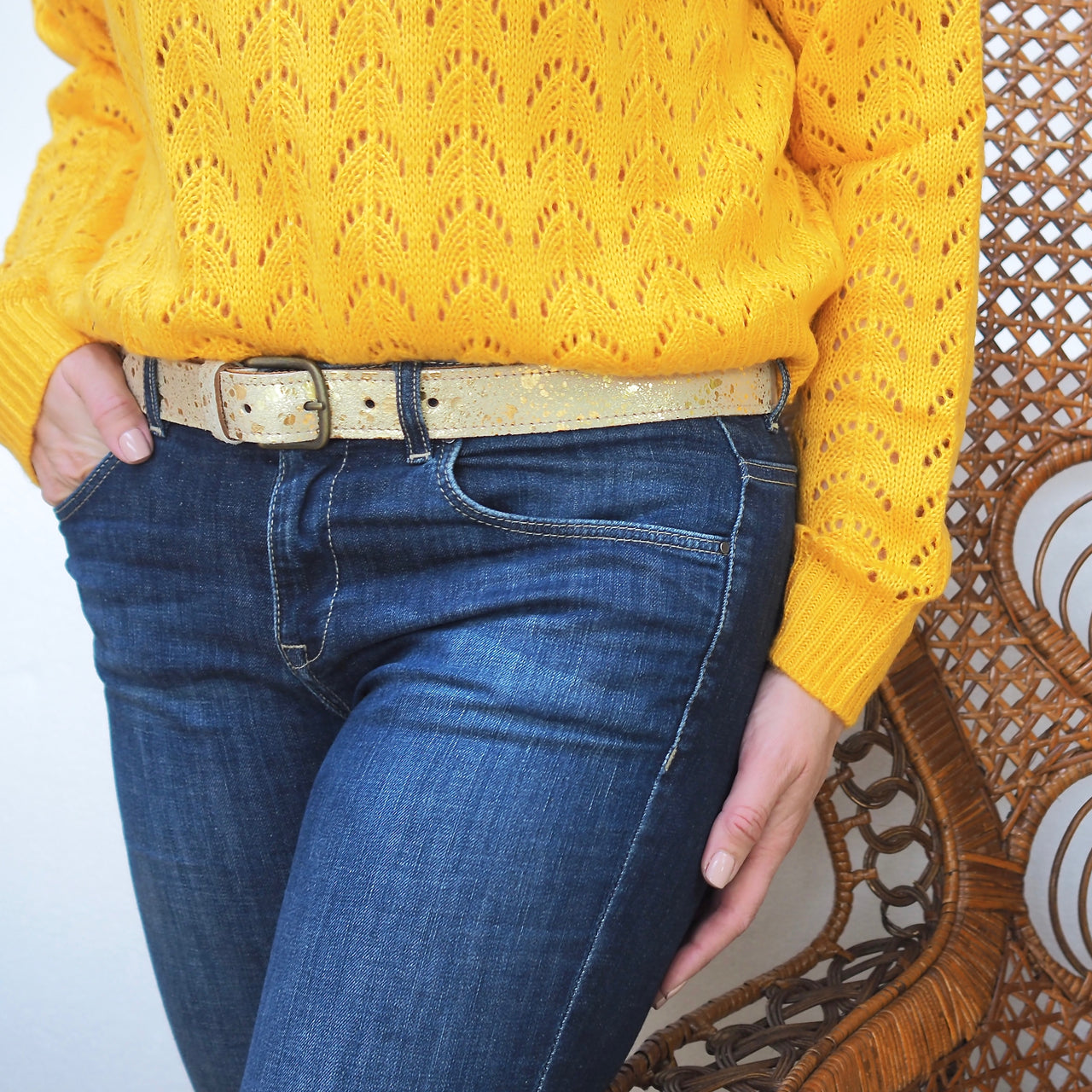 Cowhide Belts - Gold Splash | Gift Pop Boutique