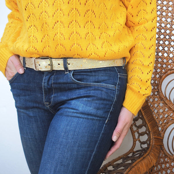 Cowhide Belts - Gold Splash