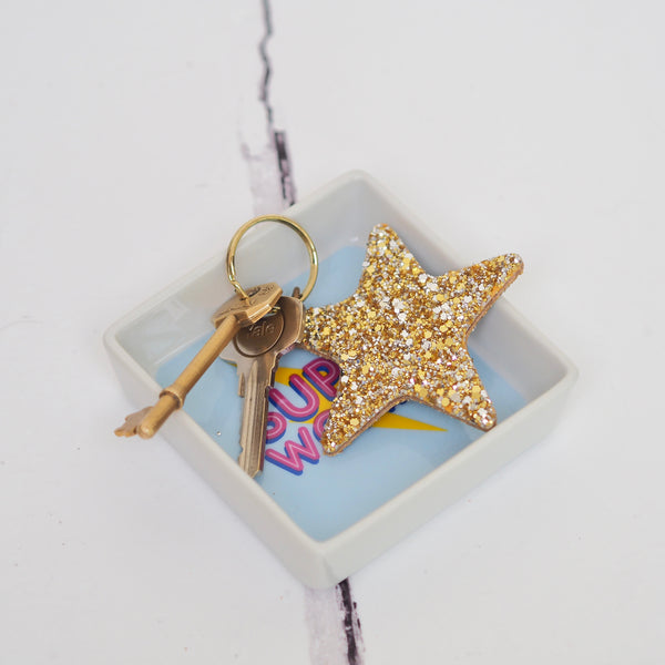 Glittery Star Keyring Gold | Gift Pop Boutique