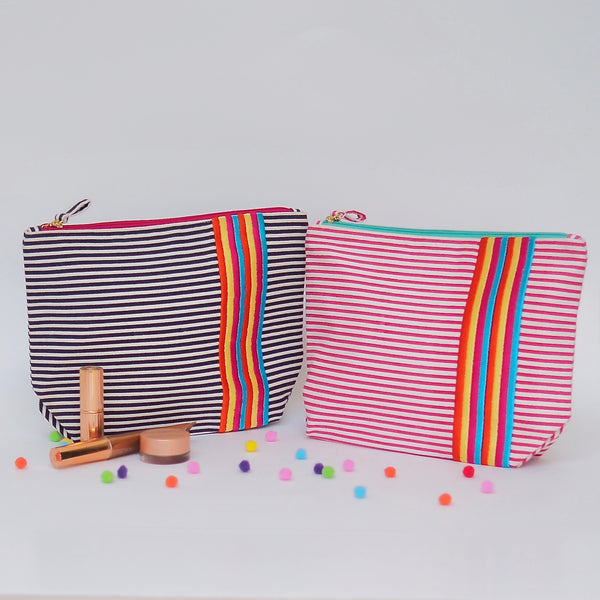 Blue Stripes Wash Bag