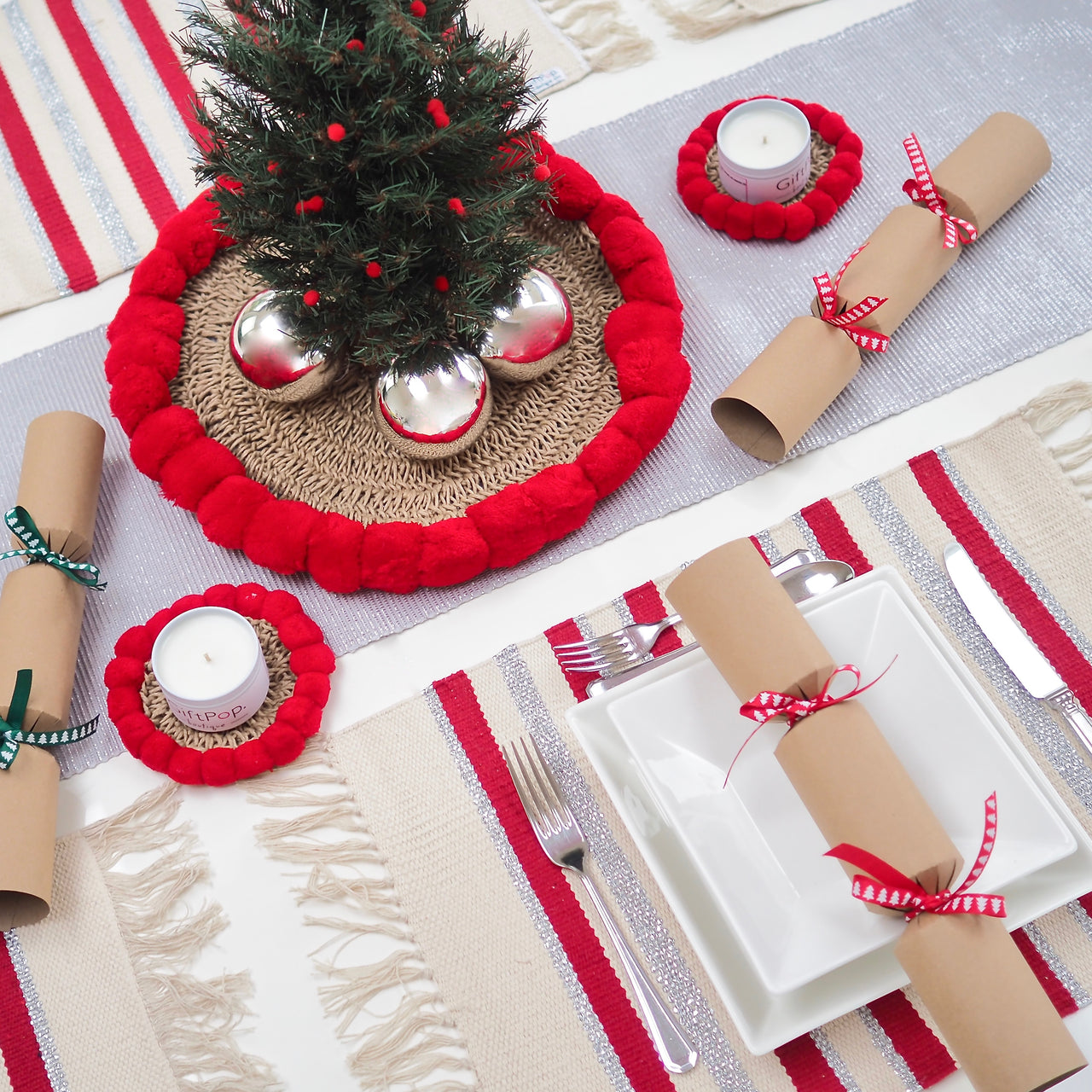 Winter Stripey Place Mat SETS - Mulled Wine & Silver