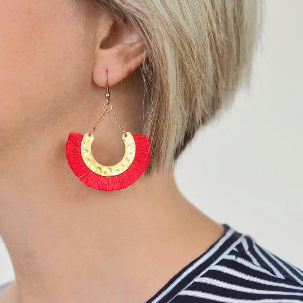 Kathy Tassel Earrings - Red