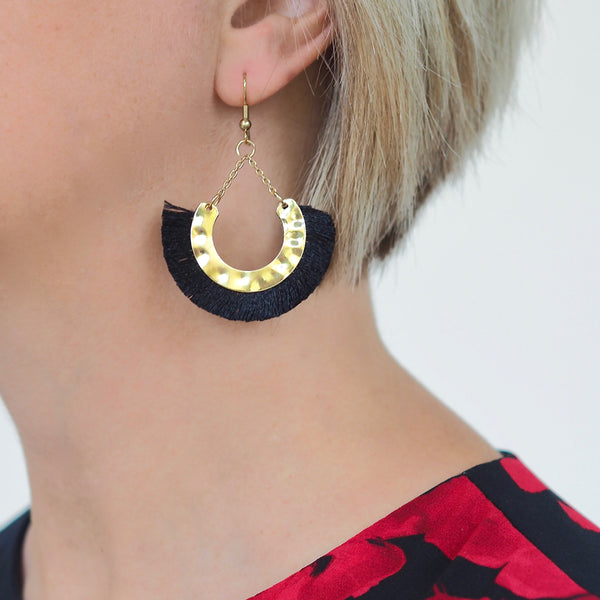Kathy Tassel Earrings - Black