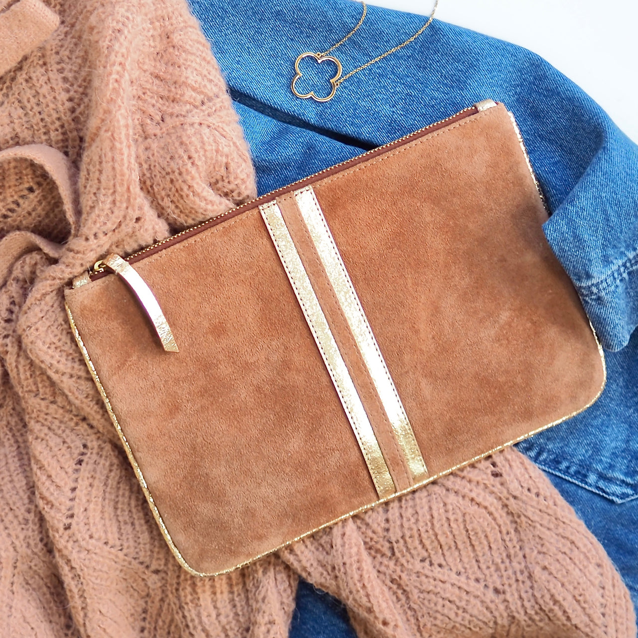 Toast & Gold Clutch