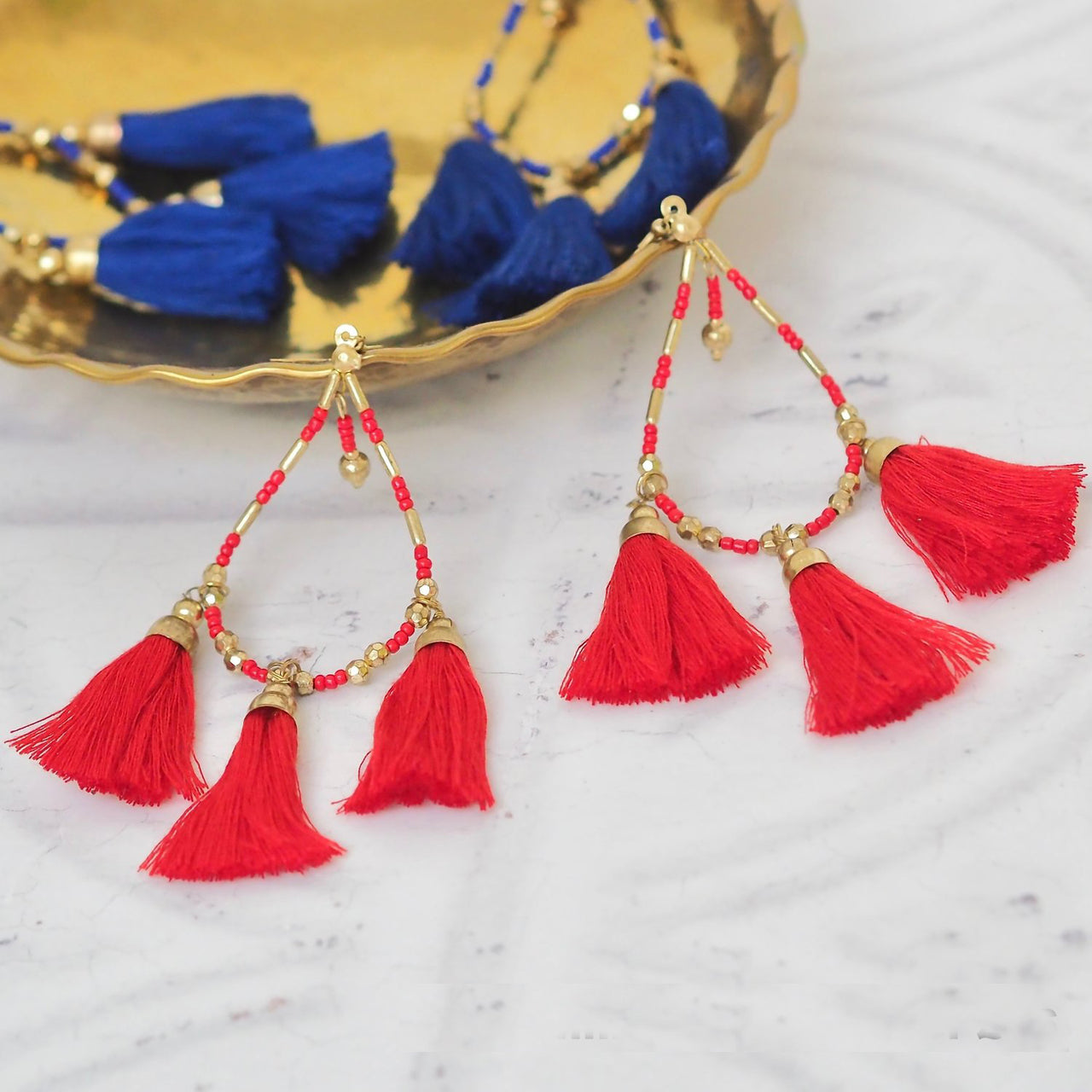 Bonnie Triple Tassel Earrings – Red