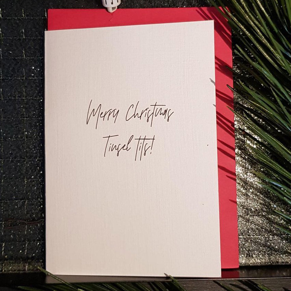 Christmas Card - Merry Christmas Tinsel Tits