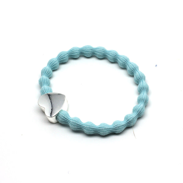 Silver Heart & Pale Blue Hairtie / Wristee | Gift Pop Boutique