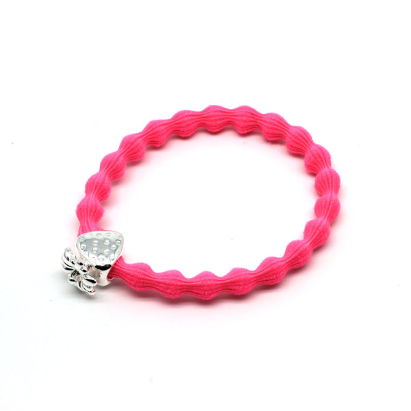 Silver Strawberry & Neon Pink Hairtie / Wristee | Gift Pop Boutique