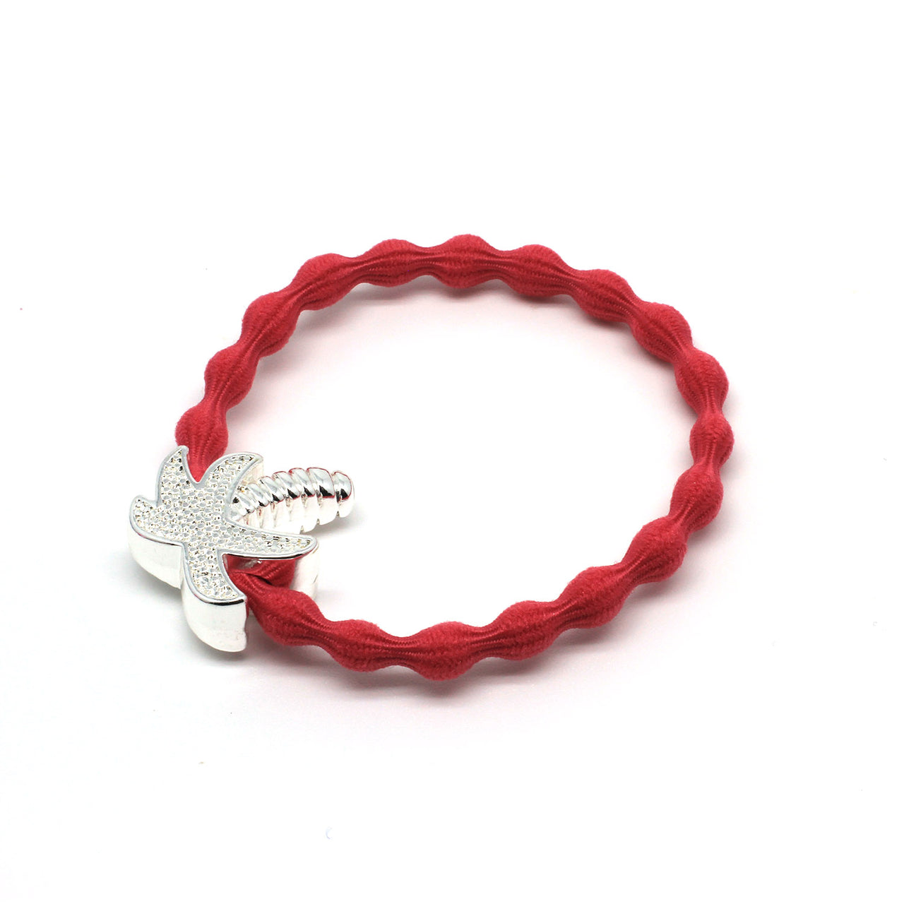 Silver Palm Tree & Coral Hairtie / Wristee | Gift Pop Boutique