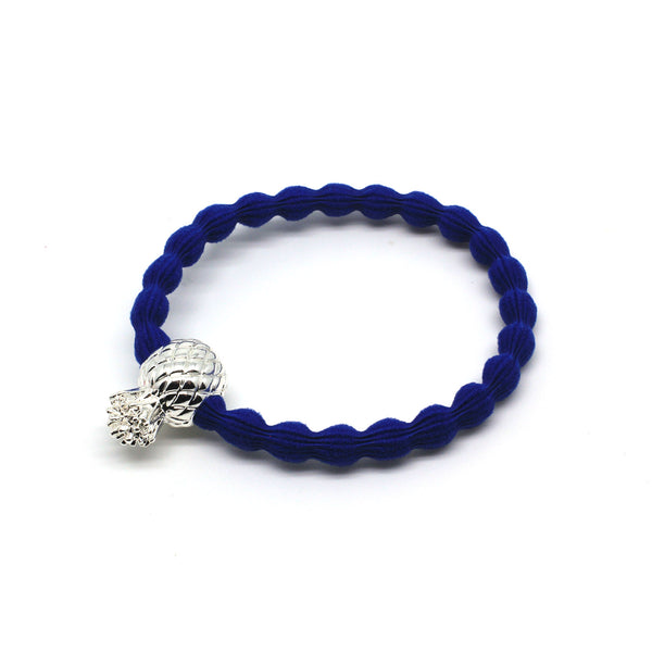 Silver Pineapple & Royal Blue Hairtie / Wristee | Gift Pop Boutique