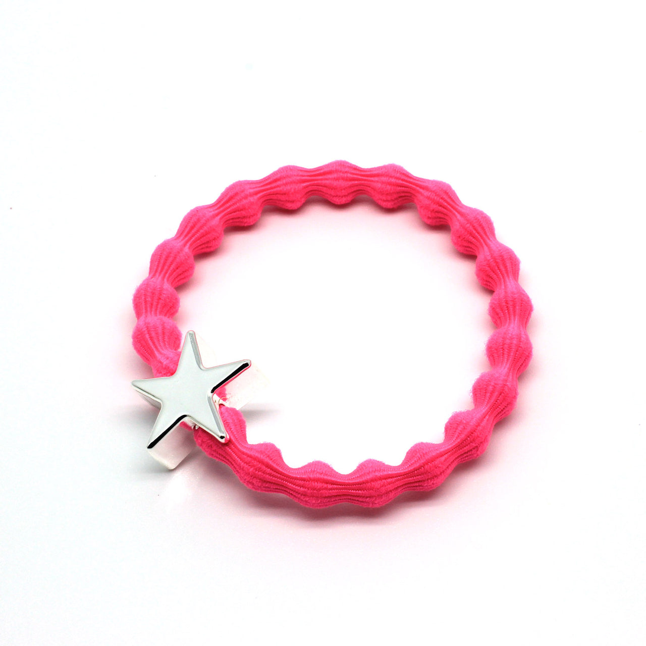 Silver Star & Neon Pink Hairtie / Wristee | Gift Pop Boutique