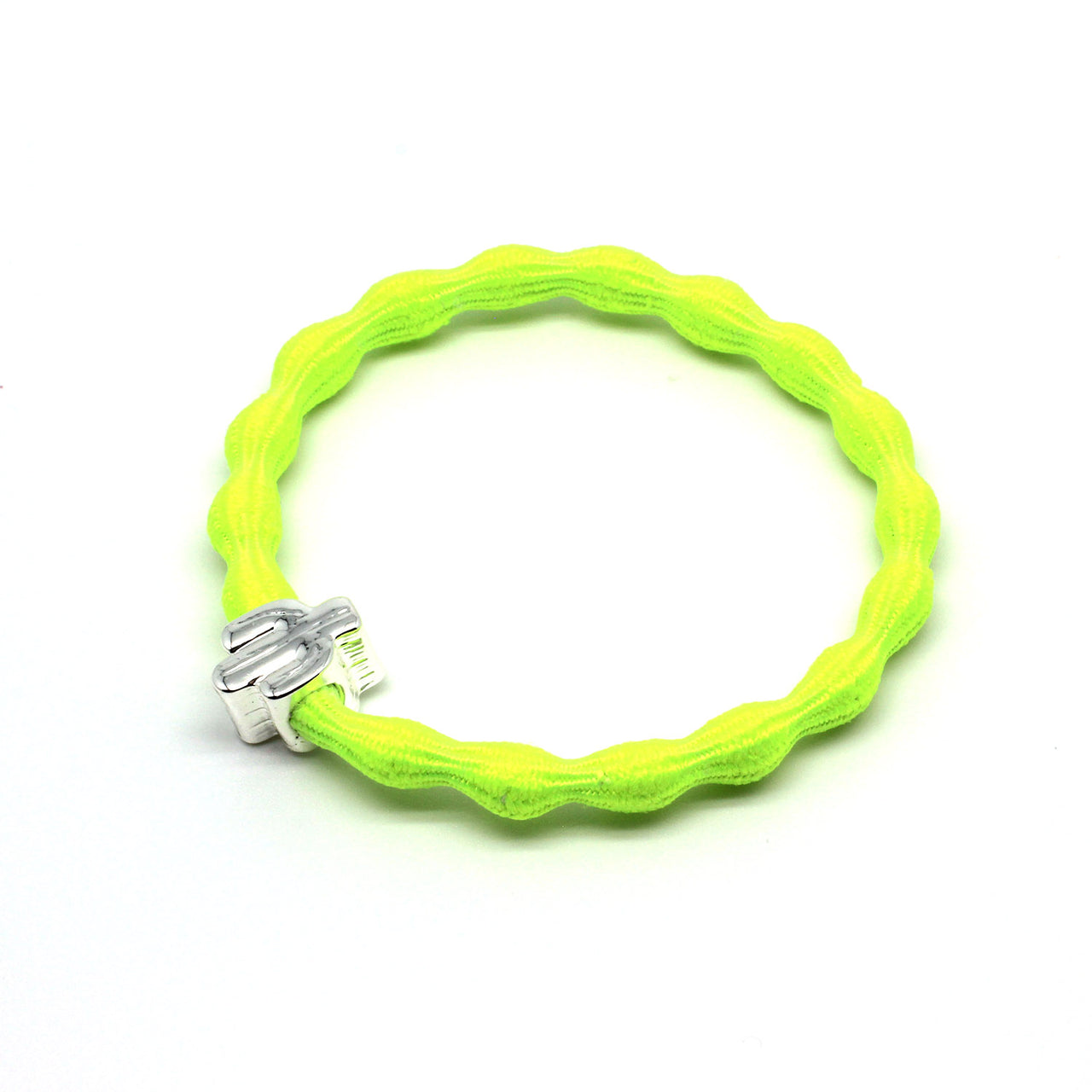 Silver Cactus & Neon Yellow Hairtie / Wristee | Gift Pop Boutique