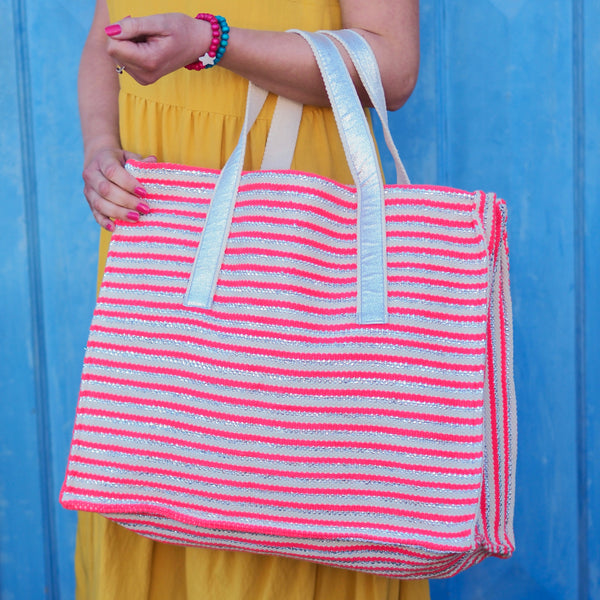 Stripe Beach Bag - Pink/ Silver
