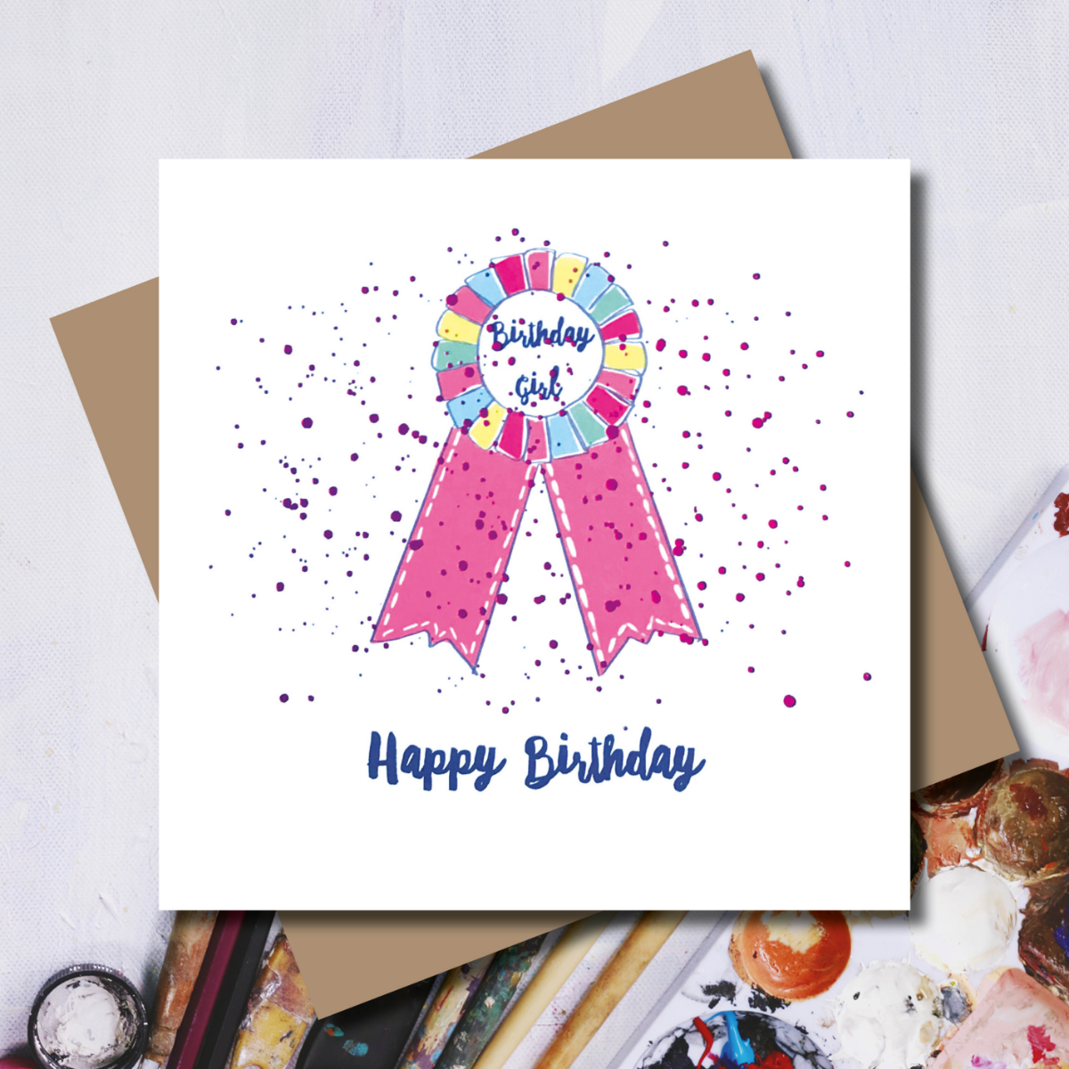 Happy Birthday - Birthday Girl Rosette Card