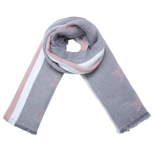 Starry Scarf - Pale Grey & Pink