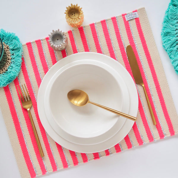 Stripe Place Mat SETS - Pink / Silver