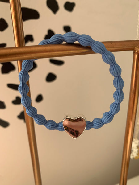 Silver Heart Bright Blue Hairtie / Wristee