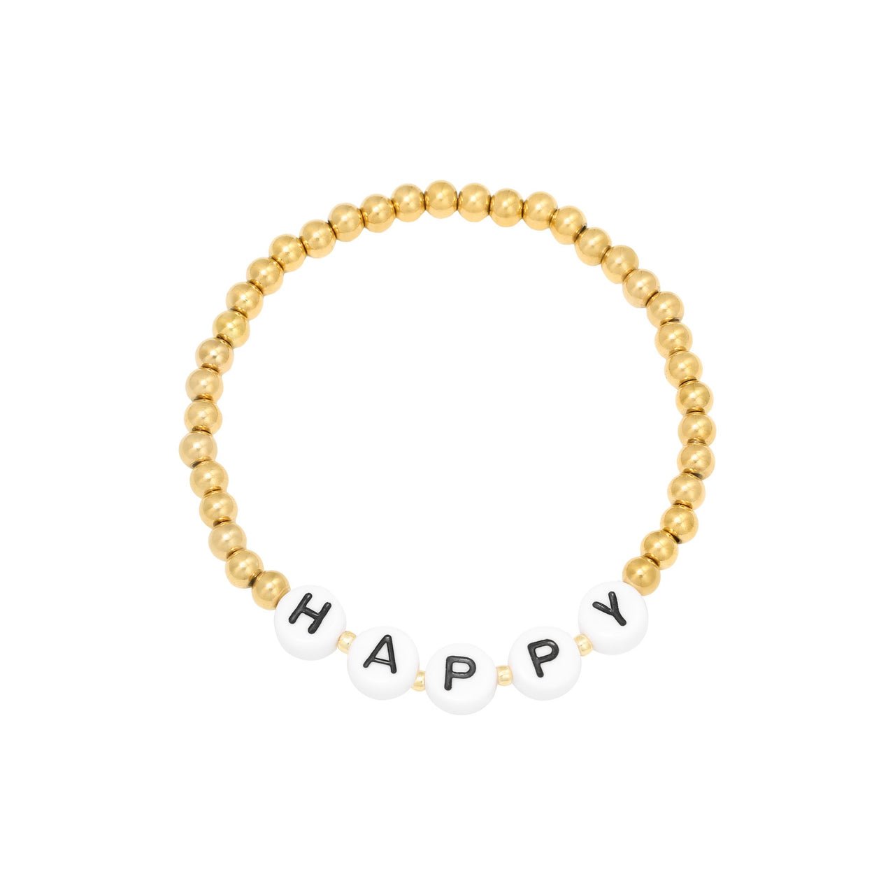 Beaded HAPPY Bracelet - Gold
