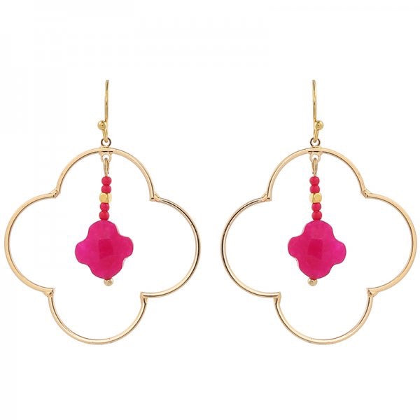 Big Clover Earrings - Pink/ Gold