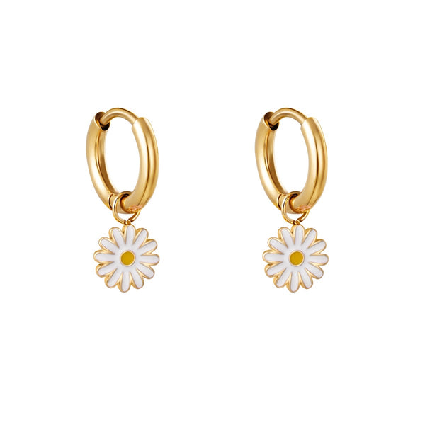 Mini Hoops Earrings - White Flower Gold