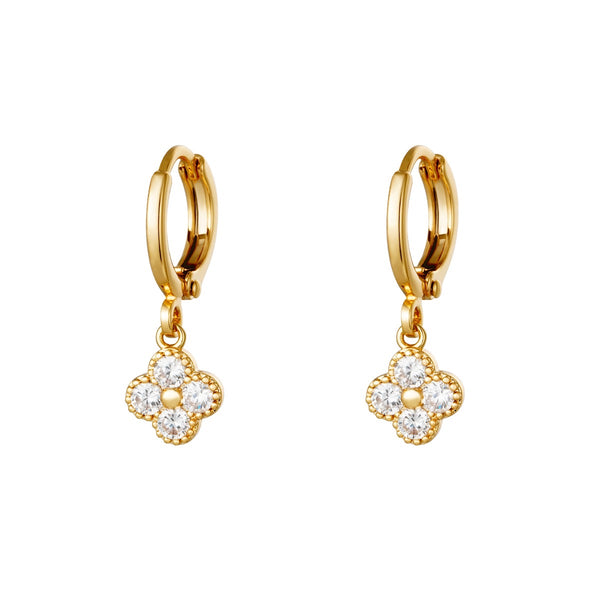 Mini Hoops Earrings - Clover Gold