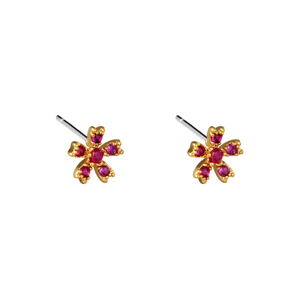 Ruby Rose Stud Earrings - Gold