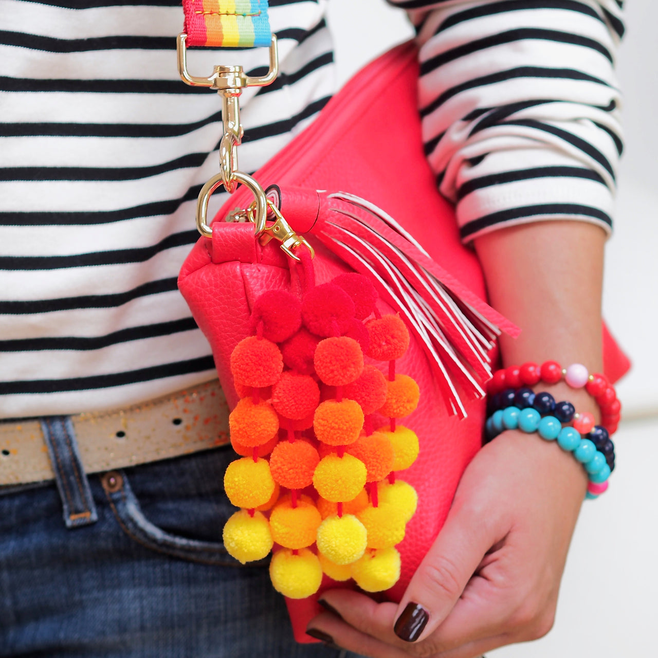 Mini Pom Pom Bag Charm - Orange | Gift Pop Boutique