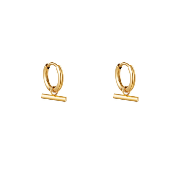 Mini Hoops Earrings - Bar Gold