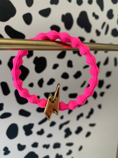 Gold Bolt Neon Pink Hairtie / Wristee