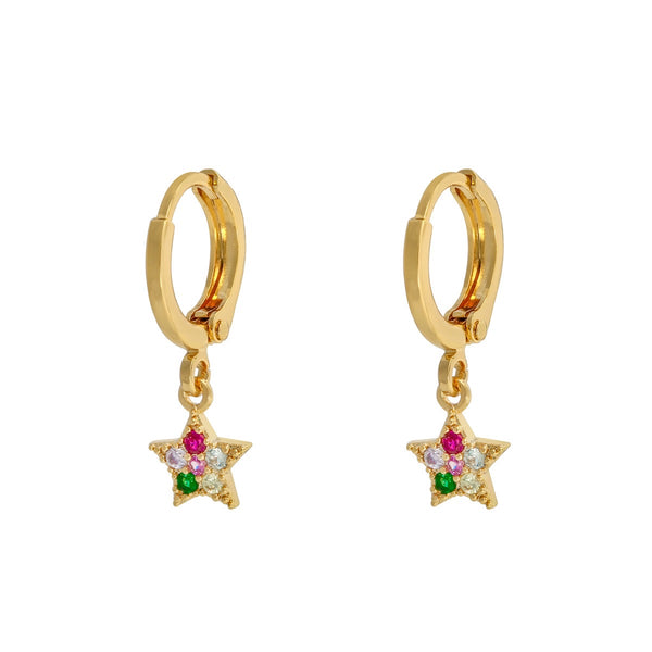 Mini Hoops Sparkle Star Gold