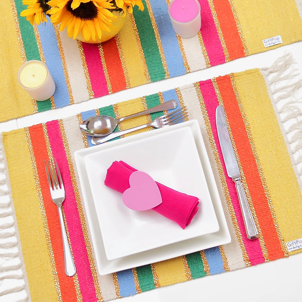 Stripey Place Mat SETS - Rainbow