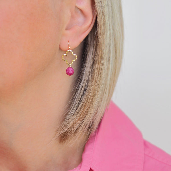 Little Clover Earrings - Pink/ Gold