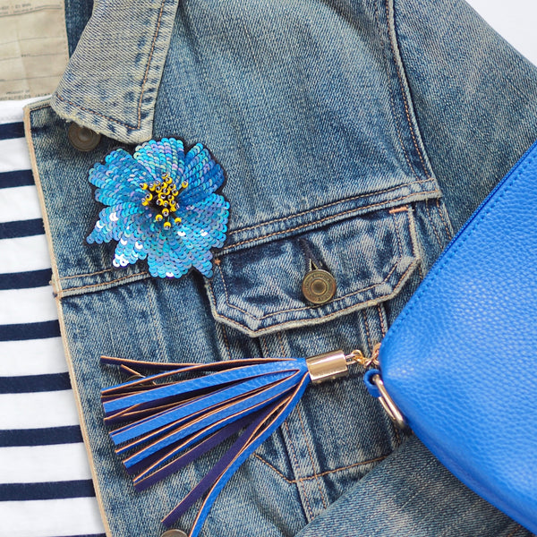 Flower Pin Brooch - Blue