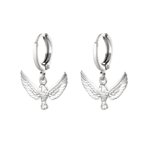 Mini Hoops Earrings - Freedom Birds Silver
