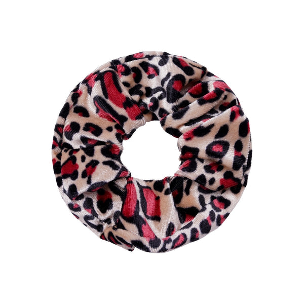 Velvet Scrunchie - Animal Print Red