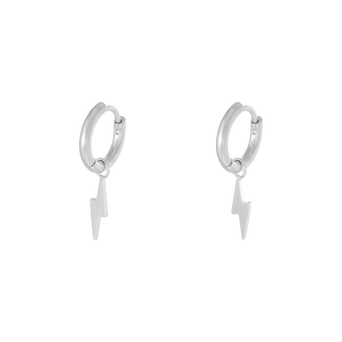 Mini Bolt Earrings - Silver