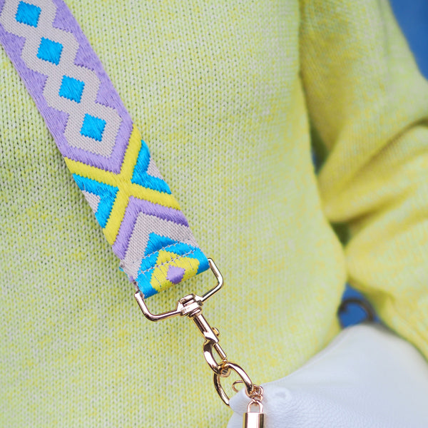 Aztec Strap - Lilac Yellow Blue