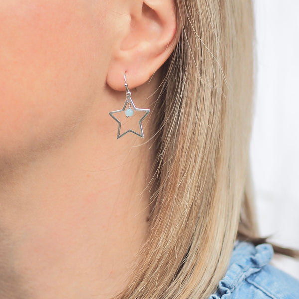 Summer Rockstar Earrings - Silver/ Aqua