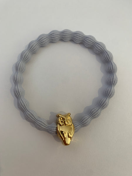 Gold Owl Pale Blue Hairtie / Wristee