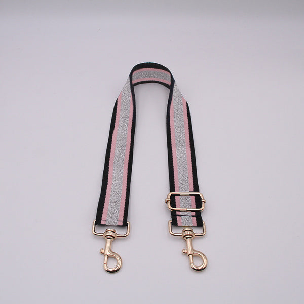 Luxe Black Pink and Silver Stripe Strap